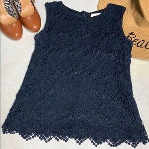 Navy Blue Lace Shirt